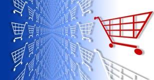 Carros de compra do comércio electrónico no azul ao inclinação branco. Fotos de Stock