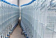 Carros de compra do supermercado Imagens de Stock Royalty Free