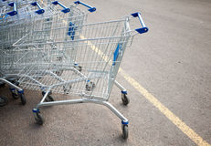 Carros de compra do supermercado Fotografia de Stock Royalty Free