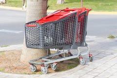 Carros de compras del adulto y de los niños Imagen de archivo libre de regalías
