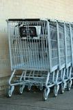 Carros de compras grises del metal Fotografía de archivo libre de regalías