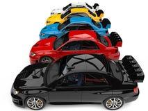 Carros de corridas de visita modernos coloridos impressionantes - cubra abaixo da vista lateral ilustração do vetor