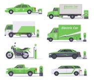 Carros de Eco Salvar a coleção do verde do vetor dos veículos da eletricidade do tempo ilustração stock