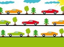 Carros de esportes nas estradas na floresta ilustração royalty free