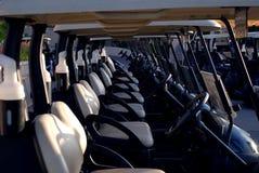 Carros de golf en línea Imagenes de archivo