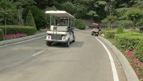 Carros de golf que conducen abajo de un camino