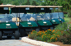 Carros de golfe para o aluguel Fotos de Stock