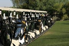 Carros de golfe prontos Foto de Stock