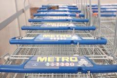 Carros de la compra del metro Imagenes de archivo