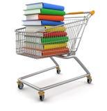 Carros de la compra y pila de libros (trayectoria de recortes incluida) Imagen de archivo libre de regalías