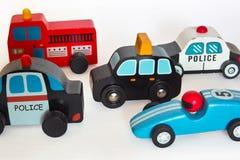 Carros de madeira do brinquedo Fotografia de Stock