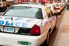 Carros de polícia alinhados em New York City Imagens de Stock Royalty Free