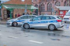 Carros de polícia no Dia da Independência nacional em Gdansk no Polônia Comemora o 99.o aniversário da independência imagens de stock