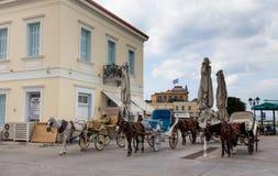 Carros del caballo en la isla de Spetses, Grecia Fotografía de archivo libre de regalías
