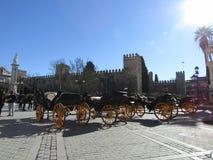 Carros del caballo en Sevilla, España imágenes de archivo libres de regalías
