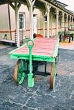 Carros del equipaje en el depósito de tren Imagenes de archivo