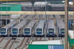 Carros del metro en la estación en Sao Paulo, el Brasil fotografía de archivo