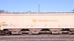 Carros del tren de carga en un puente almacen de video