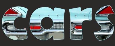 Carros dentro do texto Imagem de Stock