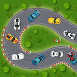 Carros desportivos que derivam a ilustração da vista superior ilustração royalty free