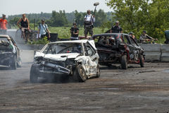 Carros destruídos na ação Fotografia de Stock
