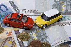 Carros do brinquedo no acidente Fotografia de Stock Royalty Free