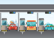 Carros do motorista que passam completamente ao pedágio de estrada do pagamento na vaia do pedágio da estrada ilustração do vetor