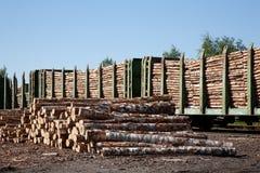 Carros do producto que transportam a madeira imagens de stock royalty free
