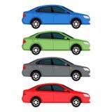 Carros do sedan ajustados isolados no fundo branco Ilustração do vetor da vista lateral Fotos de Stock