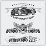 Carros do vintage ajustados Garagem retro dos carros Etiquetas dos carros do músculo, emblemas e elementos clássicos do projeto Fotos de Stock
