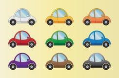 Carros dos desenhos animados ajustados Fotografia de Stock Royalty Free