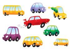 Carros dos desenhos animados do vetor ajustados Imagens de Stock Royalty Free
