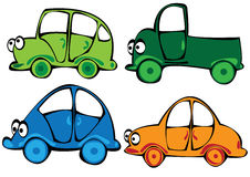 Carros dos desenhos animados do vetor ajustados isolados no branco Fotografia de Stock