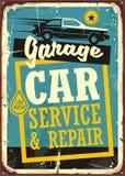 Carros e molde retro do sinal da garagem ilustração stock