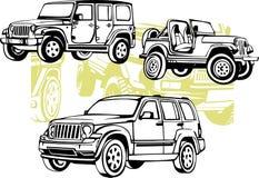 Carros fora de estrada - grupo do vetor Fotografia de Stock