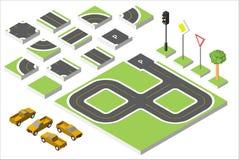 Carros isométricos ajustados da estrada e do vetor, tráfego rodoviário comum regulador Ilustração eps 10 do vetor isolada no bran Foto de Stock
