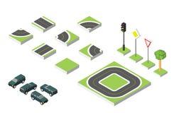 Carros isométricos ajustados da estrada e do vetor, tráfego rodoviário comum regulador Ilustração eps 10 do vetor no branco Imagens de Stock