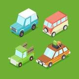 Carros isométricos dos desenhos animados do vetor Imagens de Stock Royalty Free