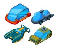 Carros isométricos futuristas Automóveis futuristas polis do vetor 3d baixo ilustração royalty free