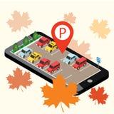 Carros isométricos no estacionamento do carro Pesquisa móvel Procurando o estacionamento Cidade 3d urbana isométrica lisa infogra Fotos de Stock Royalty Free