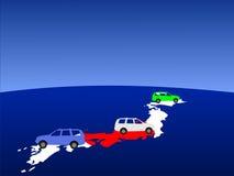 Carros japoneses com mapa Imagens de Stock