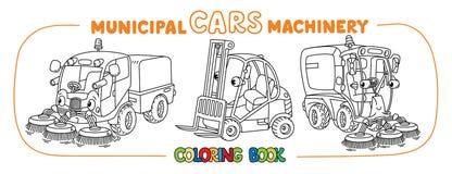 Carros municipais pequenos engraçados com olhos ilustração stock