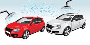 Carros na auto lavagem. Composição abstrata ilustração royalty free