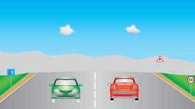Carros na estrada Ilustração do Vetor