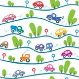 Carros na estrada Teste padrão sem emenda engraçado Imagens de Stock Royalty Free
