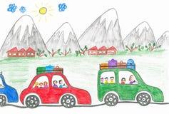 Carros nas montanhas Imagens de Stock Royalty Free