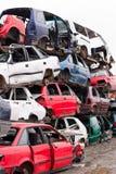 Carros no cemitério de automóveis Fotografia de Stock