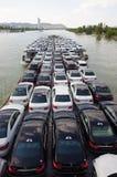 Carros novos no barco Fotografia de Stock