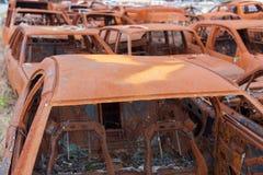 Carros oxidados queimados Foto de Stock Royalty Free