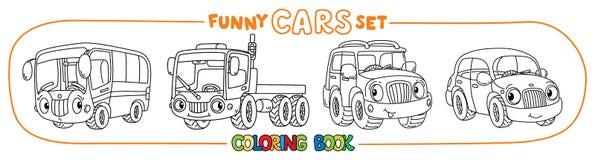 Carros pequenos engraçados com olhos Grupo do livro para colorir Fotografia de Stock Royalty Free